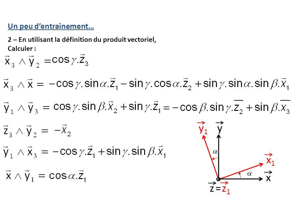 Un peu d'entrainement… 2 – En utilisant la définition du produit vectoriel, Calculer : y x y1y1 x1x1 =z1z1 z  