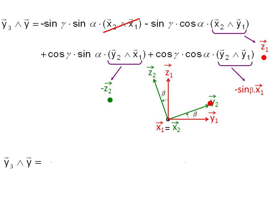 z1z1 y1y1 z2z2 y2y2   = x2x2 x1x1 z1z1 -z 2 -sin . x 1