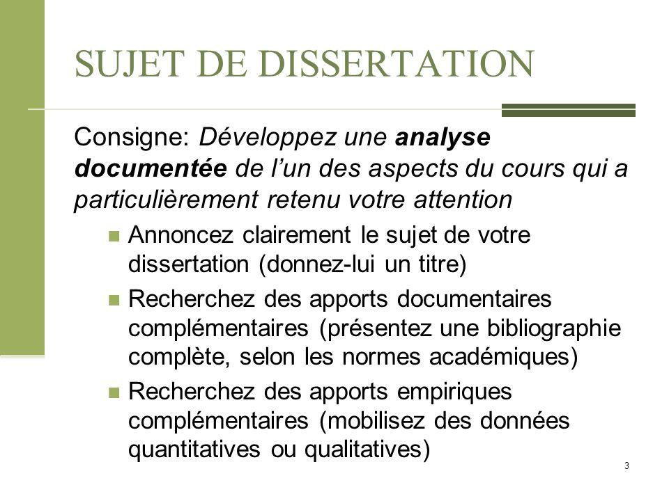 consigne pour une bonne dissertation