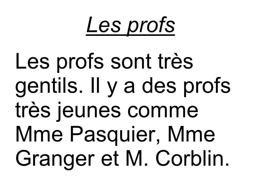 Les profs Les profs sont très gentils. Il y a des profs très jeunes comme Mme Pasquier, Mme Granger et M. Corblin.