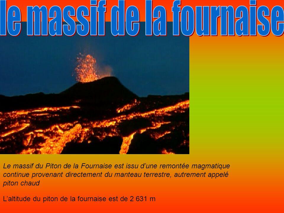 Le massif du Piton de la Fournaise est issu d'une remontée magmatique continue provenant directement du manteau terrestre, autrement appelé piton chaud L'altitude du piton de la fournaise est de 2 631 m