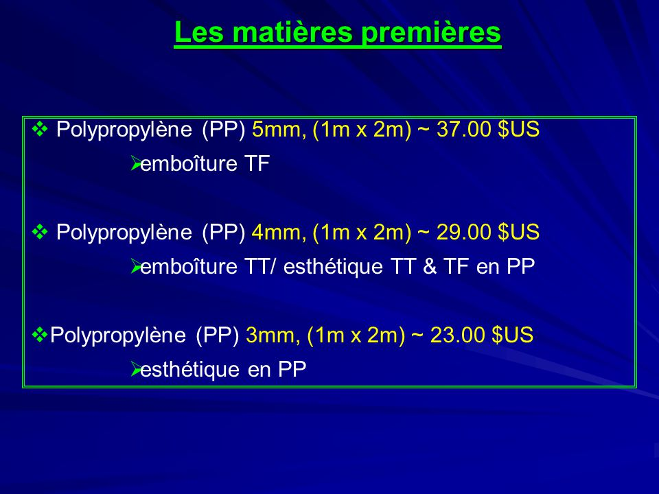 Les matières premières  Éthylène Vinyle Acétate (E.V.A.) 3mm (0.90m 2 ) ~ 13.50 $US  manchon souple/esthétique en EVA  Éthylène Vinyle Acétate (E.V.A.) 6mm (0.90m 2 ) ~ 26.00 $US  manchon souple/esthétique en EVA  Éthylène Vinyle Acétate (E.V.A.) 12mm (1.20m 2 ) ~ 55.00 $US  esthétique en EVA