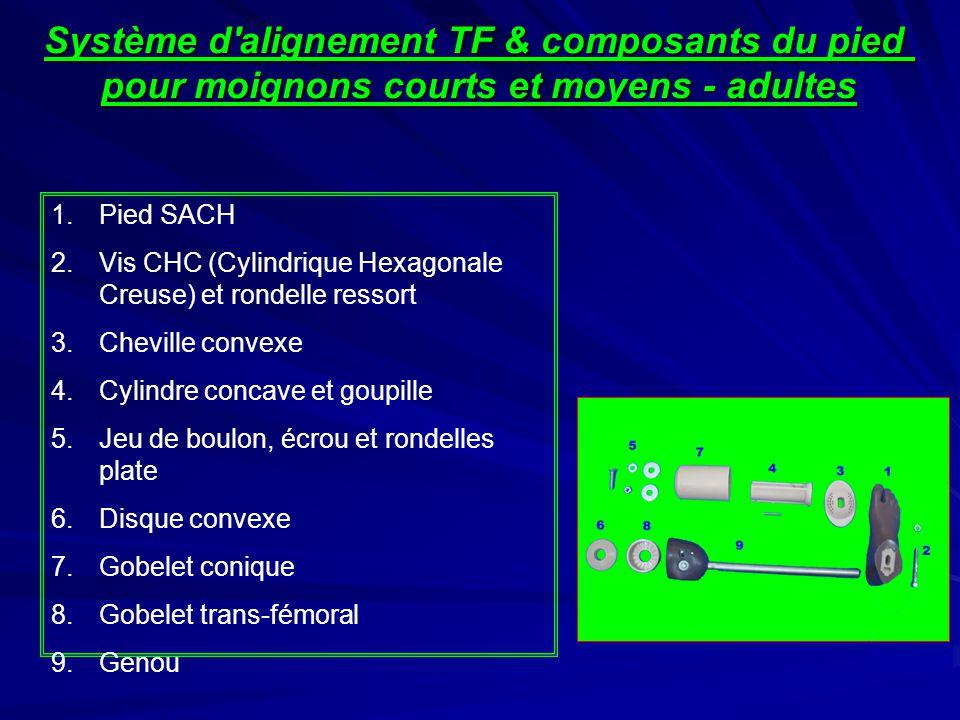 Système d alignement TF & composants du pied pour moignons courts et moyens – adultes - Prix Système d alignement TF (adulte) ~ 14.00 $US Pied SACH ~ 33.00 $US Genou (adulte) ~ 78.00 $US