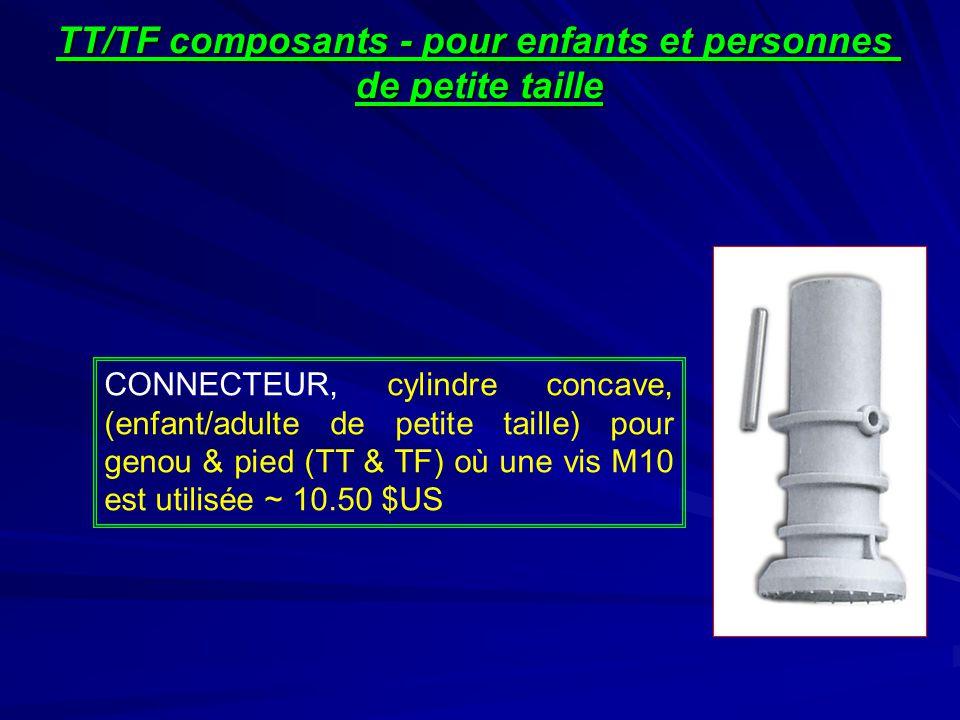 CONNECTEUR, cylindre concave, (enfant/adulte de petite taille) pour genou & pied (TT & TF) où une vis M10 est utilisée ~ 10.50 $US TT/TF composants - pour enfants et personnes de petite taille