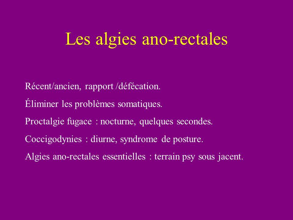 Les algies ano-rectales Récent/ancien, rapport /défécation. Éliminer les problèmes somatiques. Proctalgie fugace : nocturne, quelques secondes. Coccig