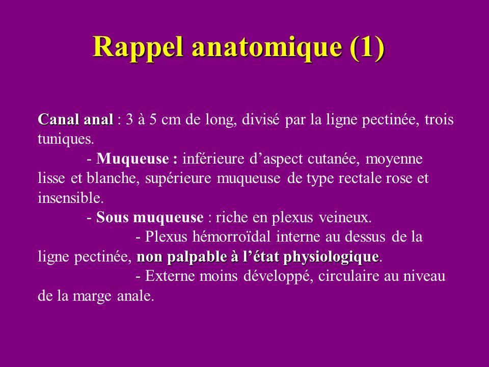 Rappel anatomique (1) Canal anal Canal anal : 3 à 5 cm de long, divisé par la ligne pectinée, trois tuniques. - Muqueuse : inférieure d'aspect cutanée