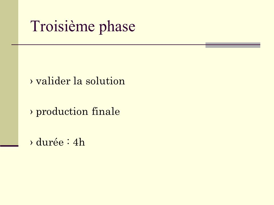 Troisième phase › valider la solution › production finale › durée : 4h
