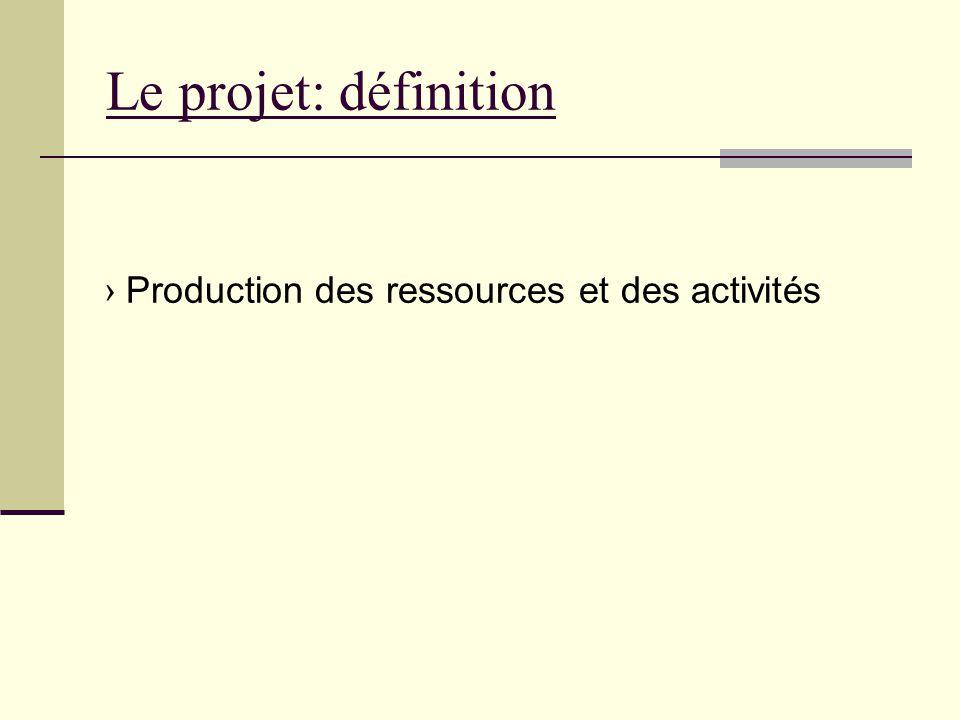 Le projet: définition › Production des ressources et des activités