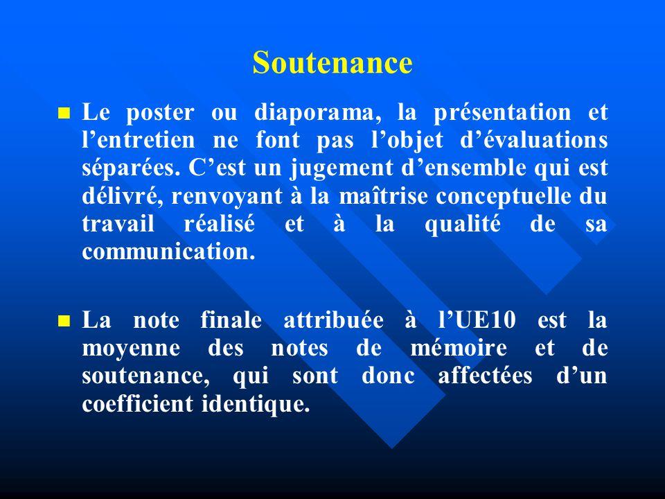 Soutenance Le poster ou diaporama, la présentation et l'entretien ne font pas l'objet d'évaluations séparées.