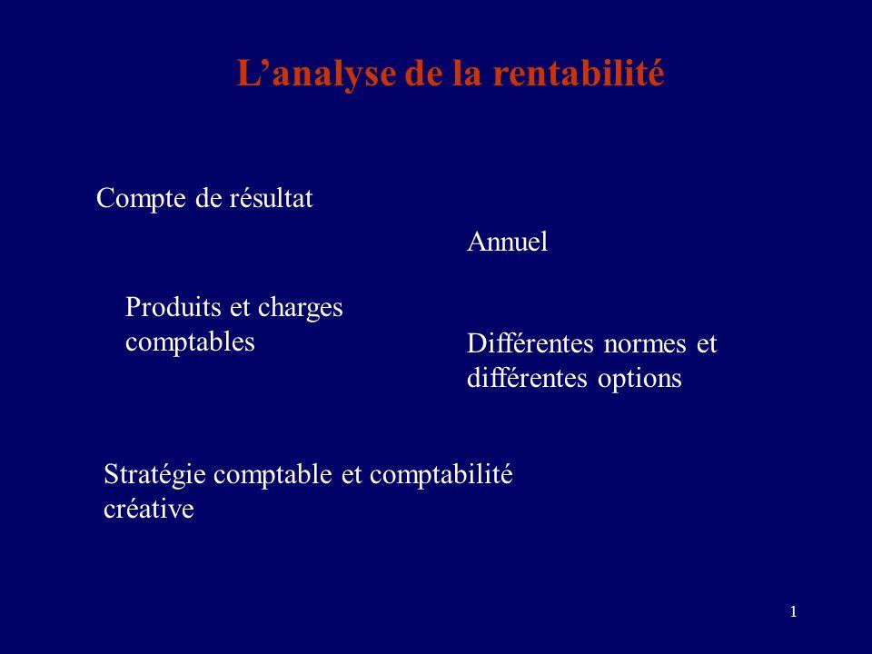 1 L'analyse de la rentabilité Compte de résultat Annuel Produits et charges comptables Différentes normes et différentes options Stratégie comptable et comptabilité créative