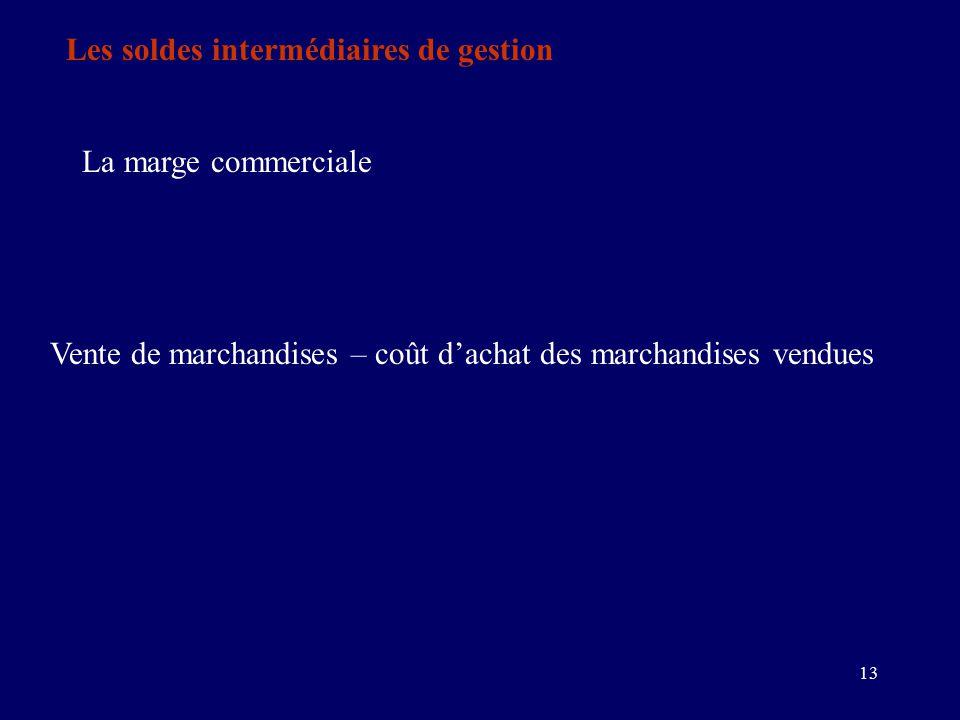 13 Les soldes intermédiaires de gestion La marge commerciale Vente de marchandises – coût d'achat des marchandises vendues