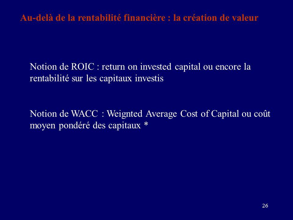 26 Au-delà de la rentabilité financière : la création de valeur Notion de ROIC : return on invested capital ou encore la rentabilité sur les capitaux investis Notion de WACC : Weignted Average Cost of Capital ou coût moyen pondéré des capitaux *