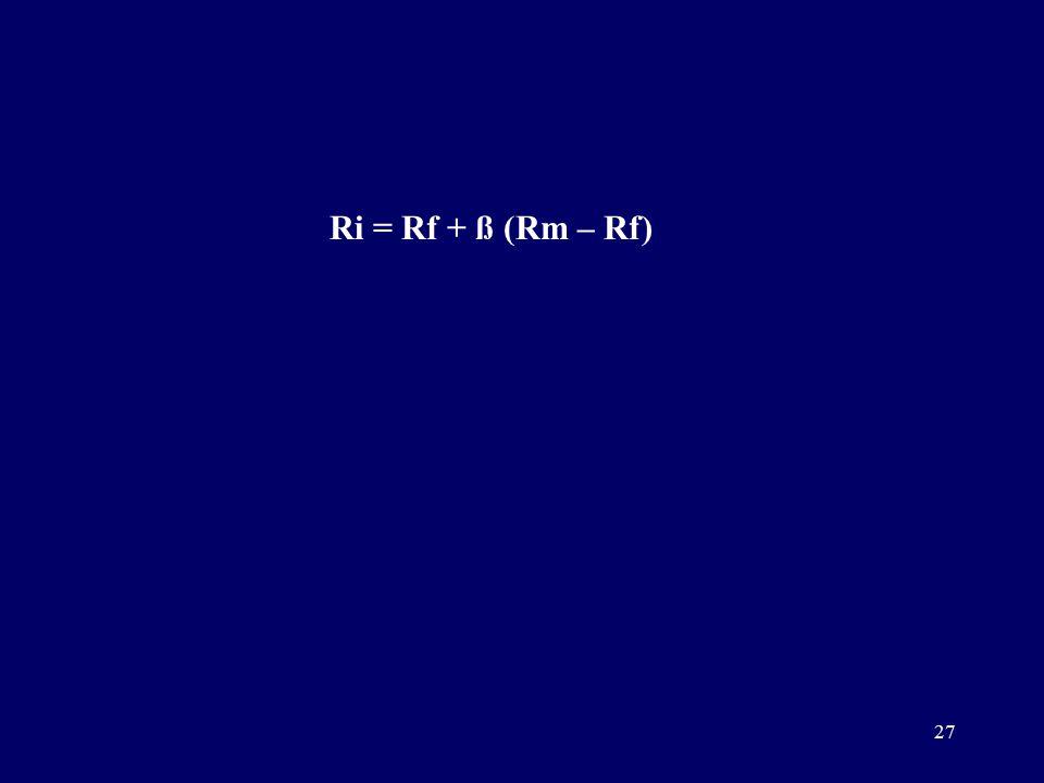 27 Ri = Rf + ß (Rm – Rf)