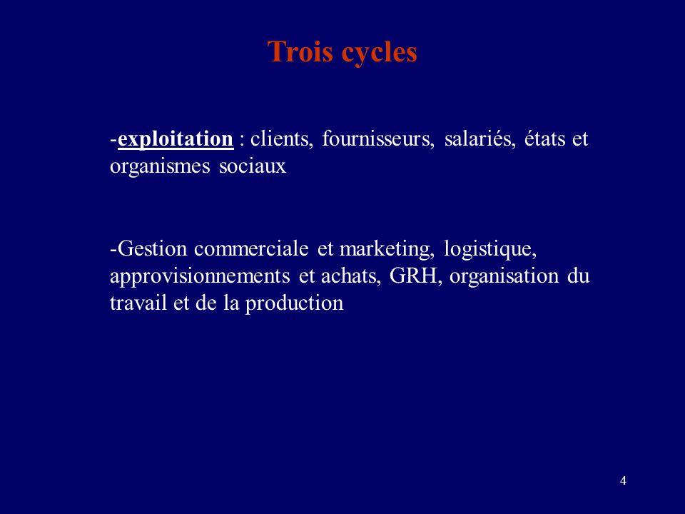 4 Trois cycles -exploitation : clients, fournisseurs, salariés, états et organismes sociaux -Gestion commerciale et marketing, logistique, approvisionnements et achats, GRH, organisation du travail et de la production