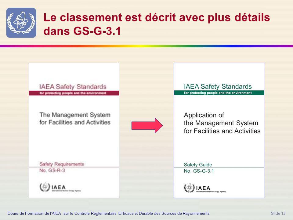 Slide 13 Le classement est décrit avec plus détails dans GS-G-3.1 Cours de Formation de l'AIEA sur le Contrôle Réglementaire Efficace et Durable des Sources de Rayonnements