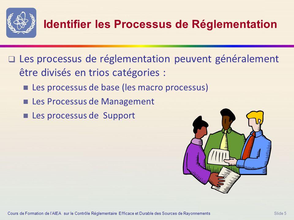 Slide 5 Identifier les Processus de Réglementation  Les processus de réglementation peuvent généralement être divisés en trios catégories : Les processus de base (les macro processus) Les Processus de Management Les processus de Support Cours de Formation de l'AIEA sur le Contrôle Réglementaire Efficace et Durable des Sources de Rayonnements