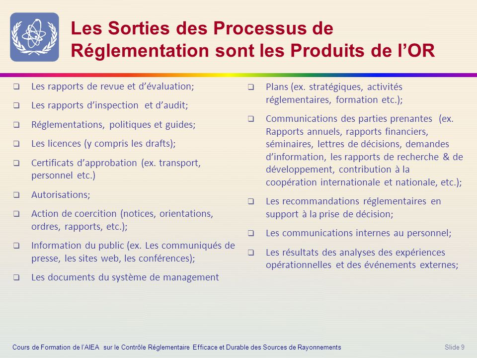 Slide 9 Les Sorties des Processus de Réglementation sont les Produits de l'OR  Les rapports de revue et d'évaluation;  Les rapports d'inspection et d'audit;  Réglementations, politiques et guides;  Les licences (y compris les drafts);  Certificats d'approbation (ex.
