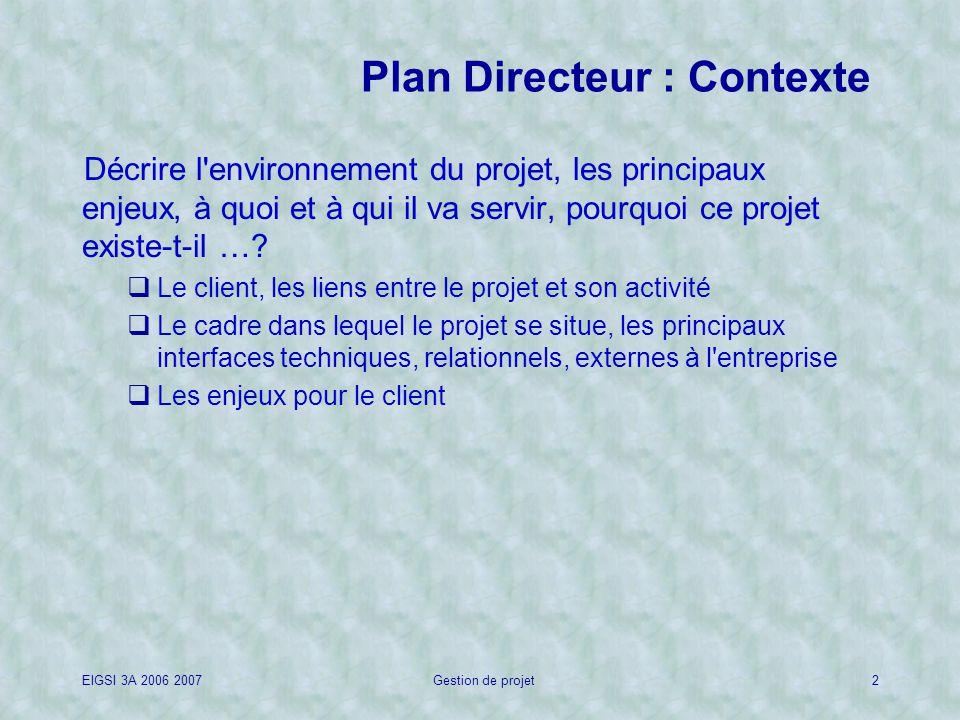 EIGSI 3A 2006 2007Gestion de projet2 Plan Directeur : Contexte Décrire l environnement du projet, les principaux enjeux, à quoi et à qui il va servir, pourquoi ce projet existe-t-il ….