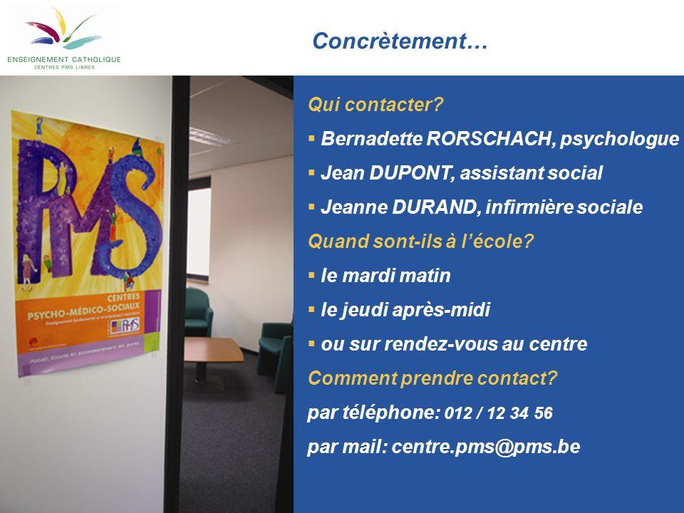 Concrètement… Qui contacter?  Bernadette RORSCHACH, psychologue  Jean DUPONT, assistant social  Jeanne DURAND, infirmière sociale Quand sont-ils à