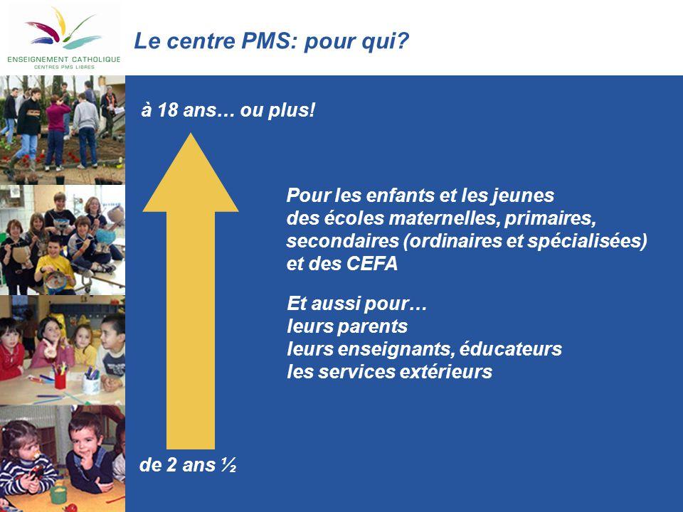 Le centre PMS: pour qui? Pour les enfants et les jeunes des écoles maternelles, primaires, secondaires (ordinaires et spécialisées) et des CEFA de 2 a