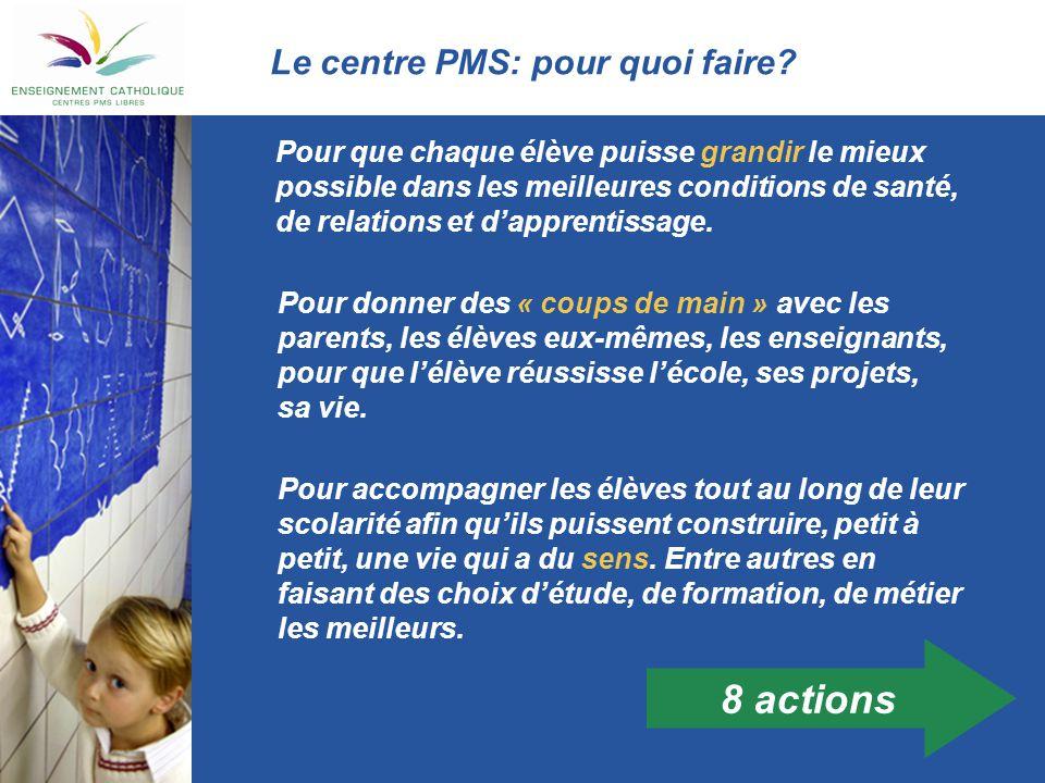 Le centre PMS: pour quoi faire? Pour que chaque élève puisse grandir le mieux possible dans les meilleures conditions de santé, de relations et d'appr