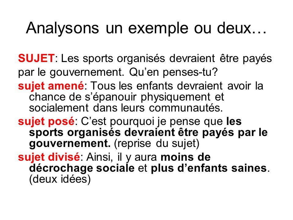 Analysons un exemple ou deux… SUJET: Les sports organisés devraient être payés par le gouvernement.