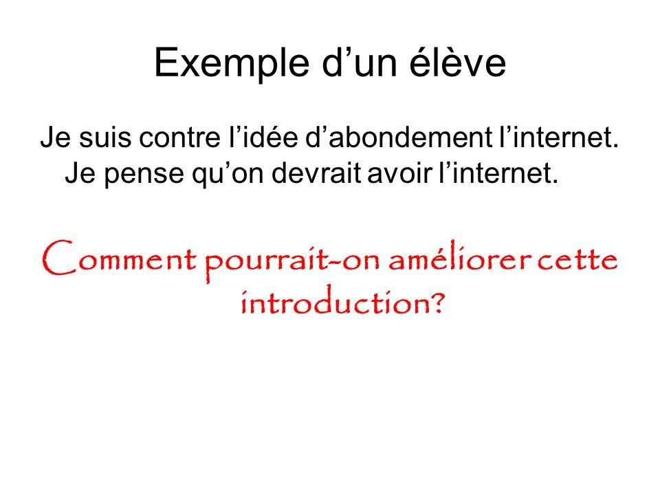 Exemple d'un élève Je suis contre l'idée d'abondement l'internet.