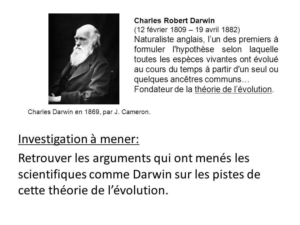 Investigation à mener: Retrouver les arguments qui ont menés les scientifiques comme Darwin sur les pistes de cette théorie de l'évolution.