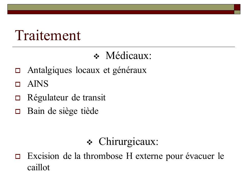 Traitement  Médicaux:  Antalgiques locaux et généraux  AINS  Régulateur de transit  Bain de siège tiède  Chirurgicaux:  Excision de la thrombos