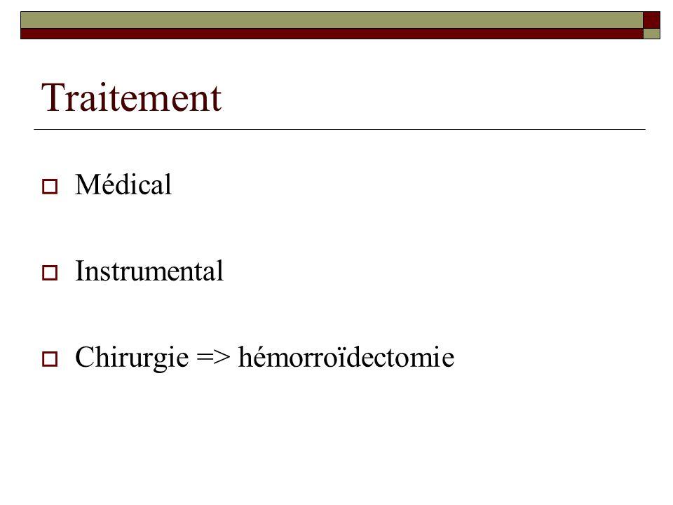 Traitement  Médical  Instrumental  Chirurgie => hémorroïdectomie