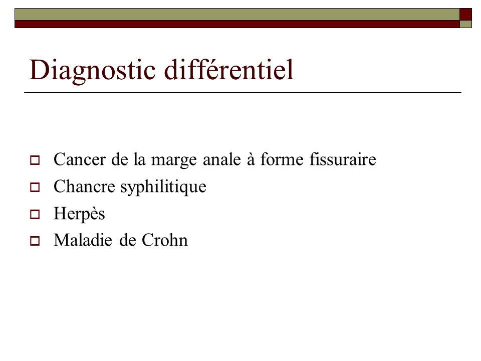Diagnostic différentiel  Cancer de la marge anale à forme fissuraire  Chancre syphilitique  Herpès  Maladie de Crohn