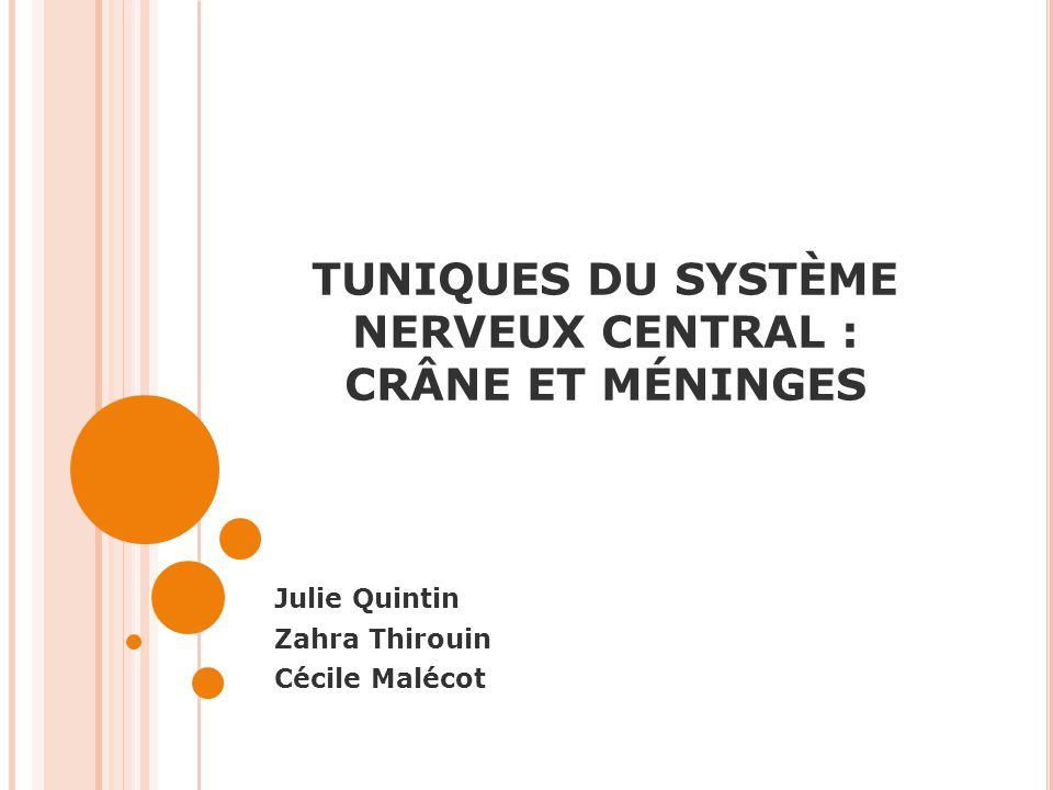 TUNIQUES DU SYSTÈME NERVEUX CENTRAL : CRÂNE ET MÉNINGES Julie Quintin Zahra Thirouin Cécile Malécot