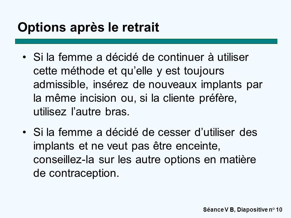 Séance V B, Diapositive n o 10 Options après le retrait Si la femme a décidé de continuer à utiliser cette méthode et qu'elle y est toujours admissibl