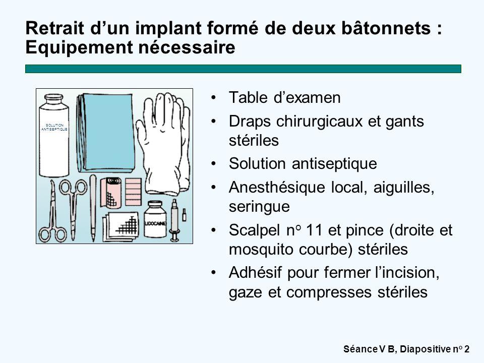 Séance V B, Diapositive n o 2 Retrait d'un implant formé de deux bâtonnets : Equipement nécessaire Table d'examen Draps chirurgicaux et gants stériles