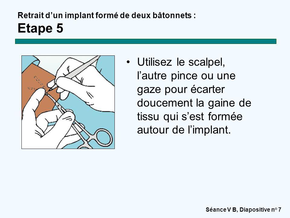 Séance V B, Diapositive n o 7 Utilisez le scalpel, l'autre pince ou une gaze pour écarter doucement la gaine de tissu qui s'est formée autour de l'imp
