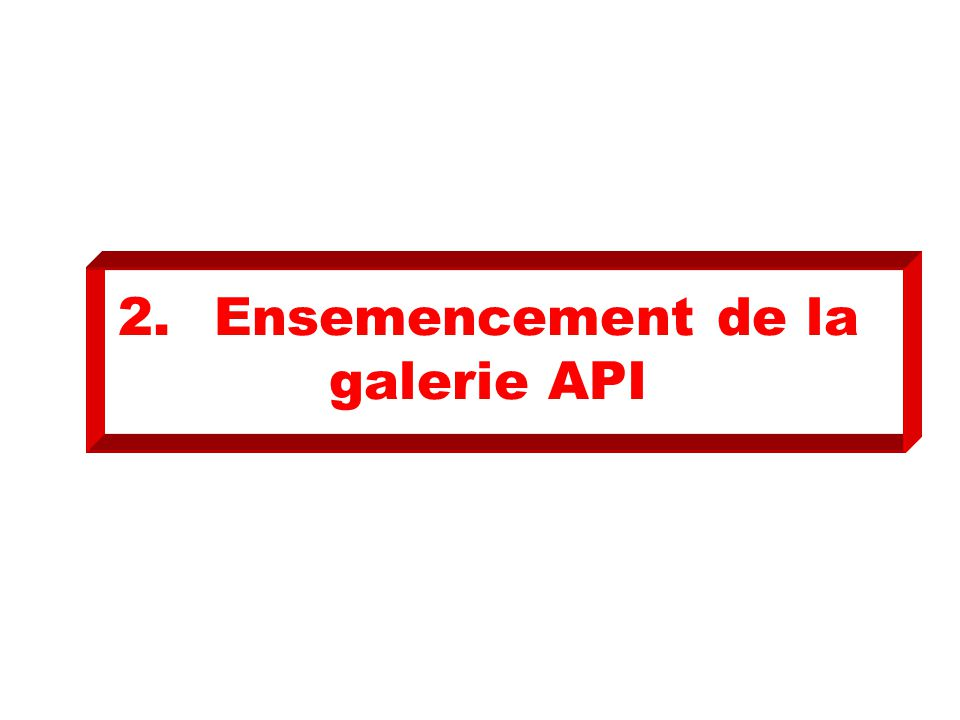 2.Ensemencement de la galerie API