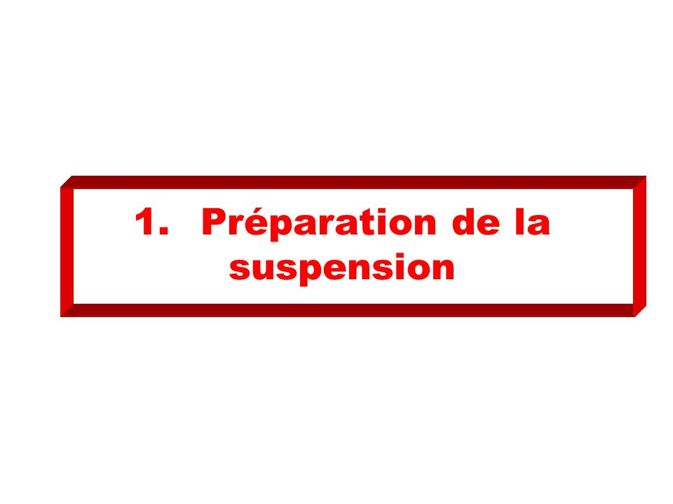 1.Préparation de la suspension
