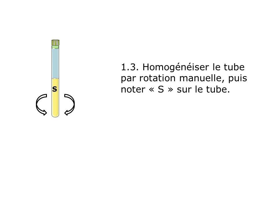 1.3. Homogénéiser le tube par rotation manuelle, puis noter « S » sur le tube. S