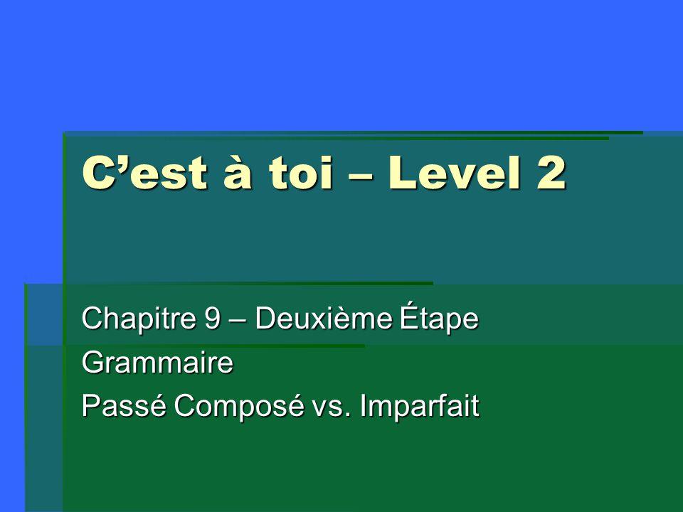 C'est à toi – Level 2 Chapitre 9 – Deuxième Étape Grammaire Passé Composé vs. Imparfait