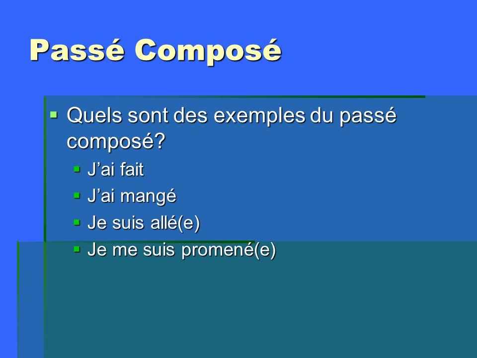 Passé Composé  Quels sont des exemples du passé composé.