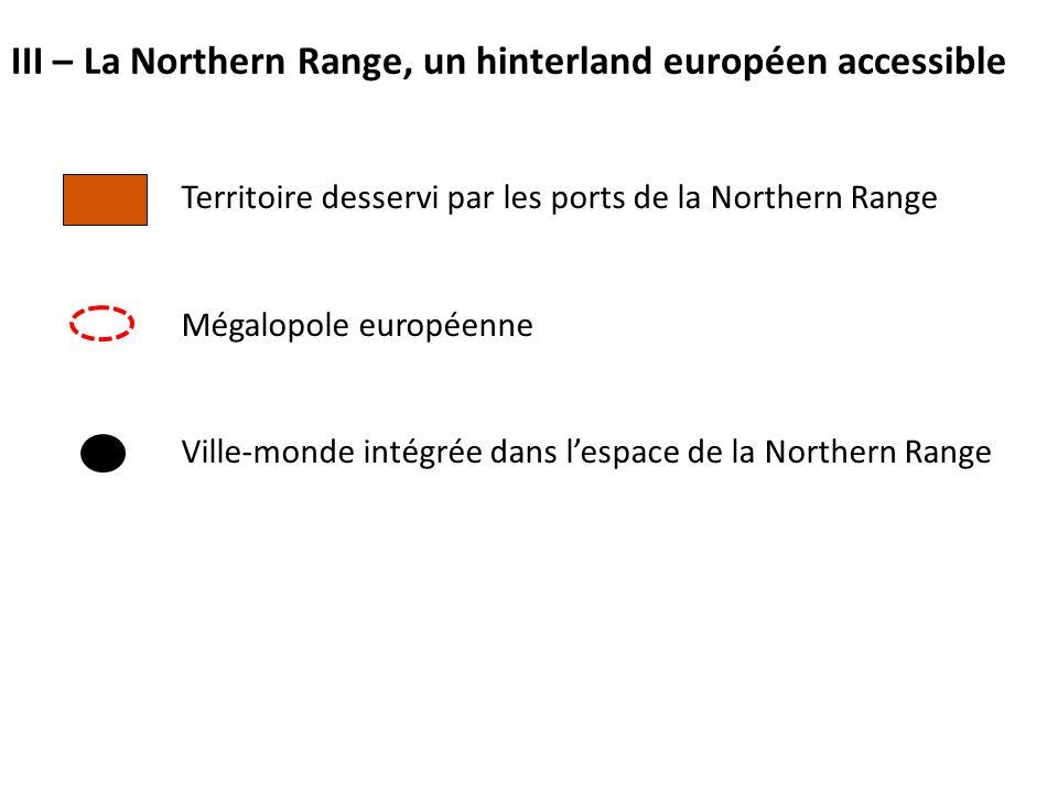 Territoire desservi par les ports de la Northern Range Mégalopole européenne Ville-monde intégrée dans l'espace de la Northern Range III – La Northern Range, un hinterland européen accessible