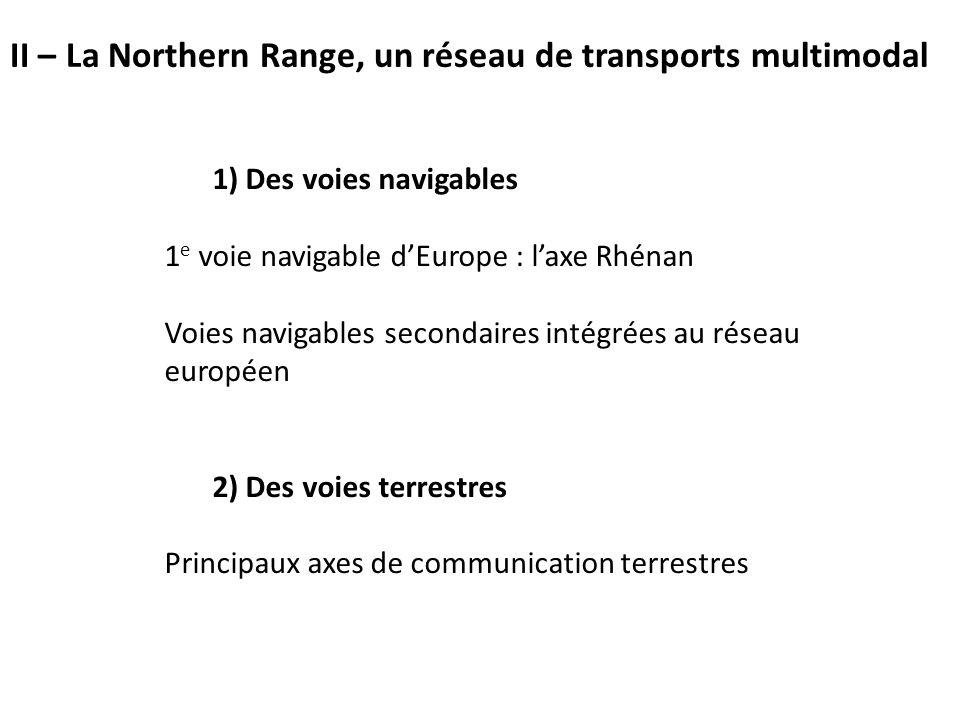 1) Des voies navigables 1 e voie navigable d'Europe : l'axe Rhénan Voies navigables secondaires intégrées au réseau européen 2) Des voies terrestres Principaux axes de communication terrestres II – La Northern Range, un réseau de transports multimodal