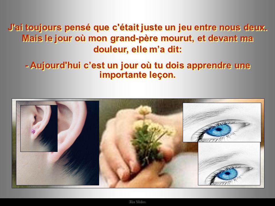 Ria Slides Elle me regarda et dit: - tu n as pas encore la bonne réponse, car il y a beaucoup de gens qui sont aveugles...