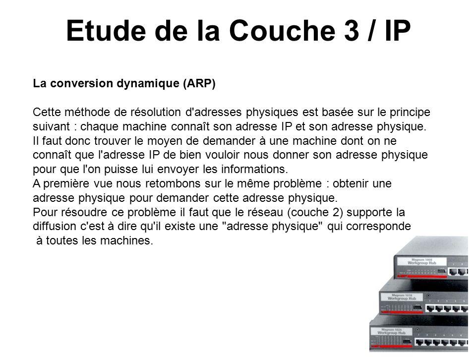 Etude de la Couche 3 / IP La conversion dynamique (ARP) Cette méthode de résolution d adresses physiques est basée sur le principe suivant : chaque machine connaît son adresse IP et son adresse physique.