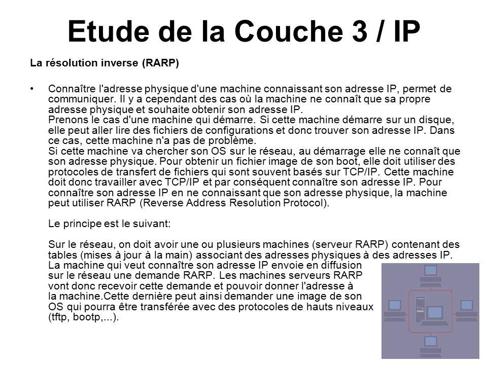 Etude de la Couche 3 / IP La résolution inverse (RARP) Connaître l adresse physique d une machine connaissant son adresse IP, permet de communiquer.