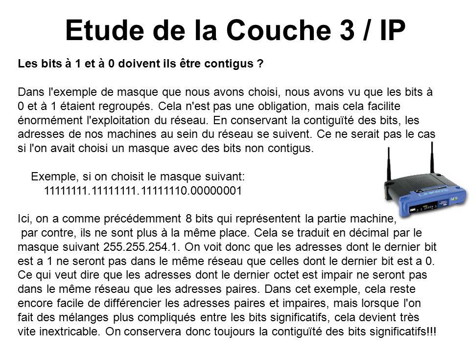 Etude de la Couche 3 / IP Les bits à 1 et à 0 doivent ils être contigus .