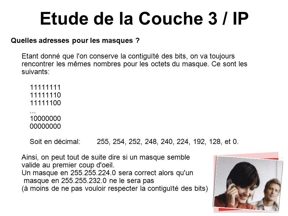 Etude de la Couche 3 / IP Quelles adresses pour les masques .