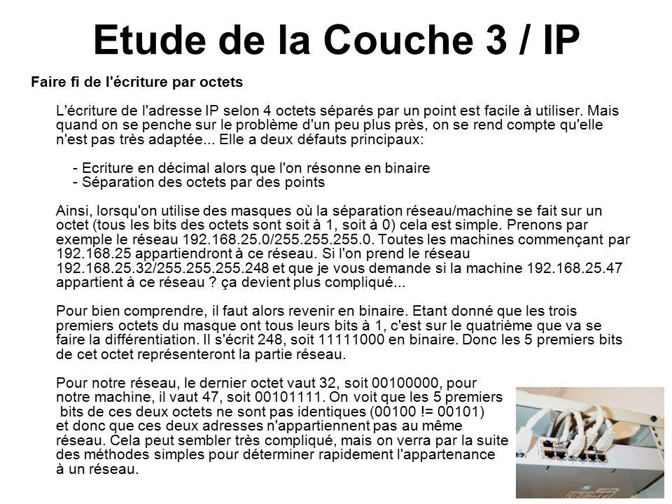 Etude de la Couche 3 / IP Faire fi de l écriture par octets L écriture de l adresse IP selon 4 octets séparés par un point est facile à utiliser.