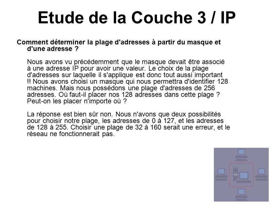 Etude de la Couche 3 / IP Comment déterminer la plage d adresses à partir du masque et d une adresse .