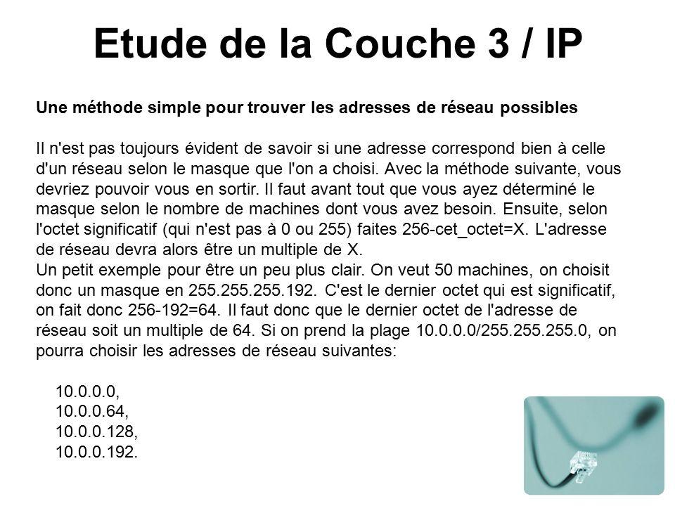 Etude de la Couche 3 / IP Une méthode simple pour trouver les adresses de réseau possibles Il n est pas toujours évident de savoir si une adresse correspond bien à celle d un réseau selon le masque que l on a choisi.